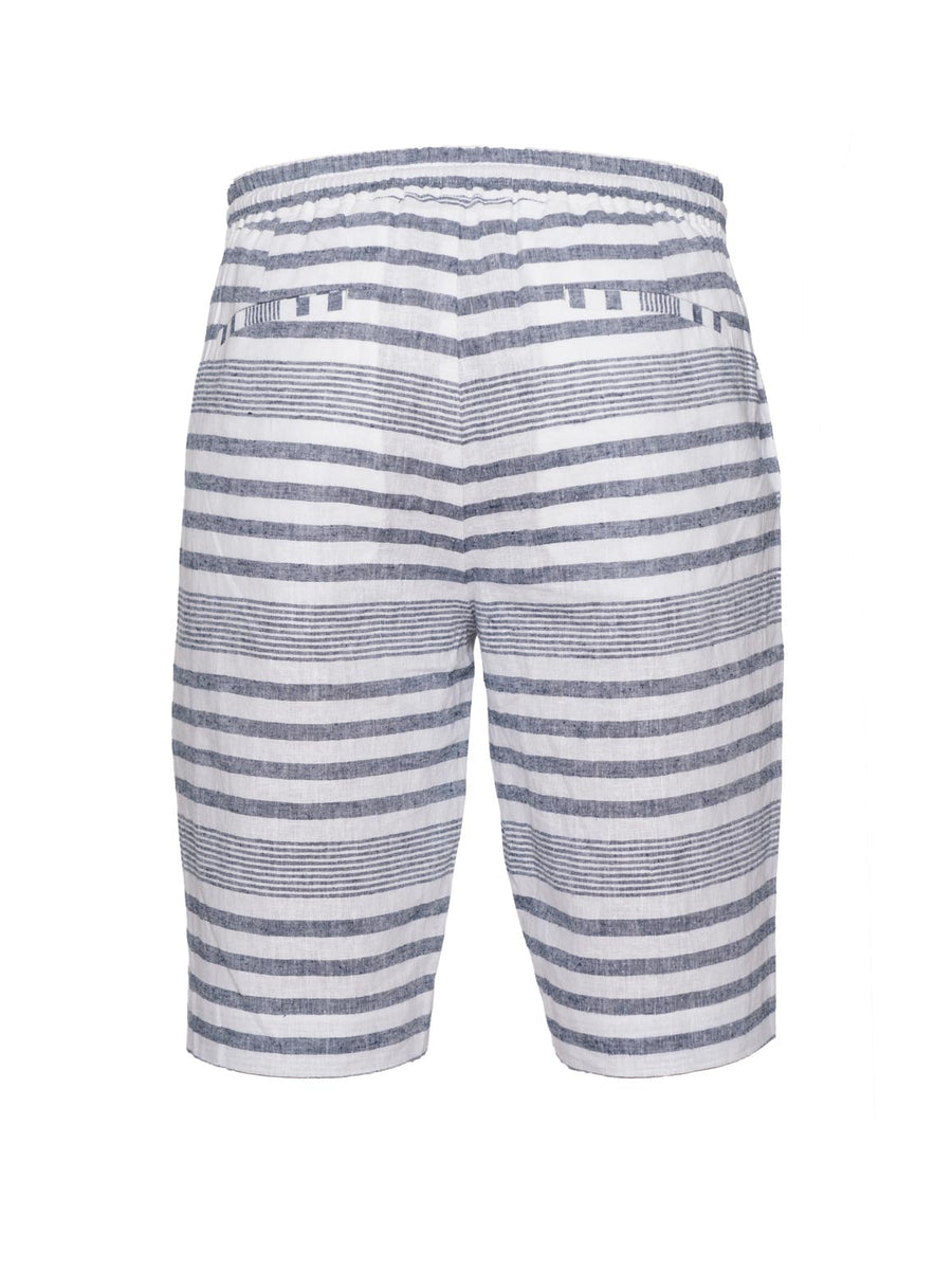 paisley & gray variegated blue stripe slim fit jogger short 2153S