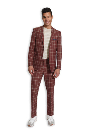 paisley & gray rust windowpane slim fit notch lapel suit jacket 2155J rust windowpane slim fit suit pant 2155P