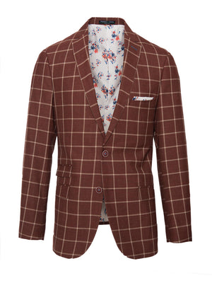 paisley & gray rust windowpane slim fit notch lapel suit jacket 2155J charming white, orange & blue floral lining and pocket square maroon buttons flap pockets