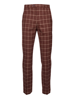 paisley & gray rust windowpane slim fit suit pant 2155P
