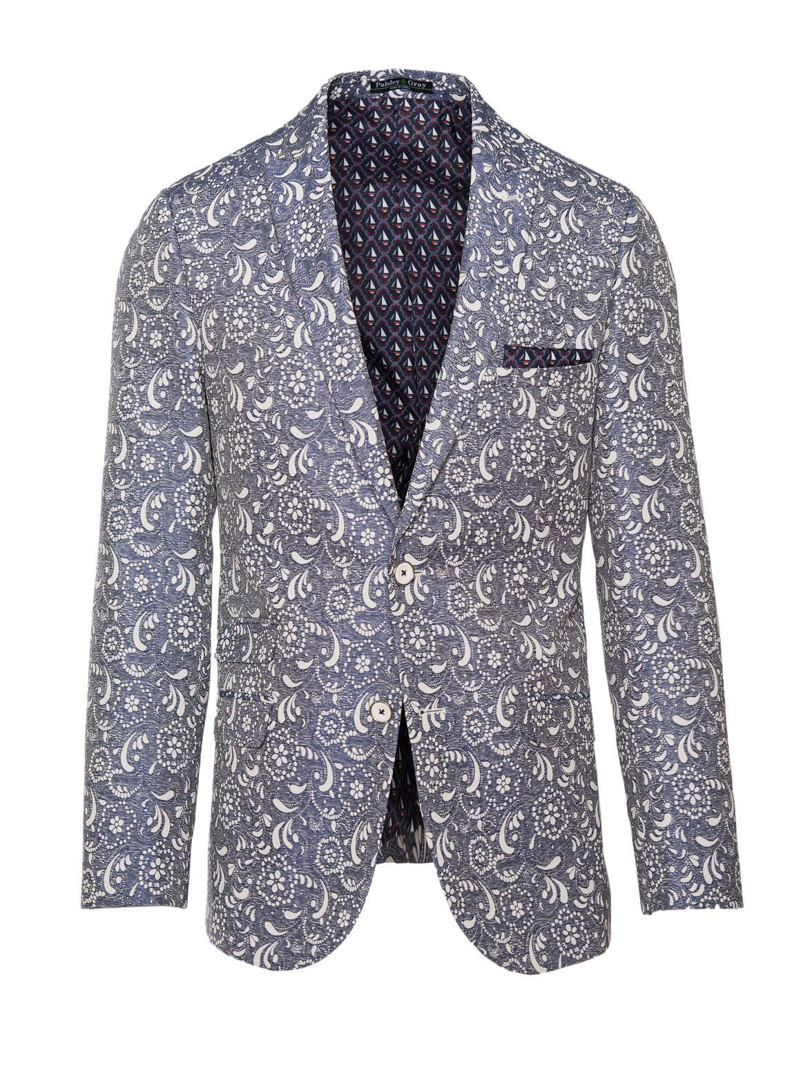 paisley & gray denim & paisley jacquard slim fit peak lapel suit jacket 2162J nautical sailboat fleet lining and pocket square white plated buttons flap pockets