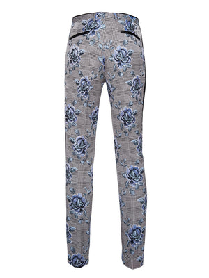 paisley & gray purple flower on black & white plaid with black satin leg stripe slim fit tuxedo pant 2163p