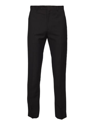 paisley & gray black solid with black & white floral leg stripe slim fit tuxedo pant 2170p