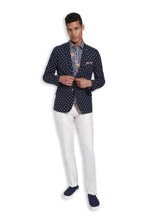 paisley & gray navy & white dot slim fit notch lapel suit jacket 2172J white twill slim fit suit pant 2183P bold stripe floral slim fit spread collar button-down shirt 2260W