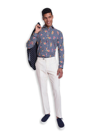 paisley & gray navy & white dot slim fit notch lapel suit jacket 2172J bold stripe floral lining white twill slim fit suit pant 2183P bold stripe floral slim fit spread collar button-down shirt 2260W