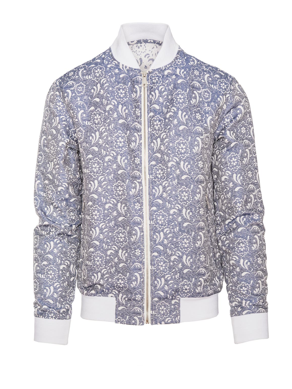 paisley & gray denim & paisley jacquard slim fit crew neck collar bomber jacket 2178Z contrast lining white ribbed hem solid silver zipper slant pockets fitted waist elasticated cuffs front zip closure