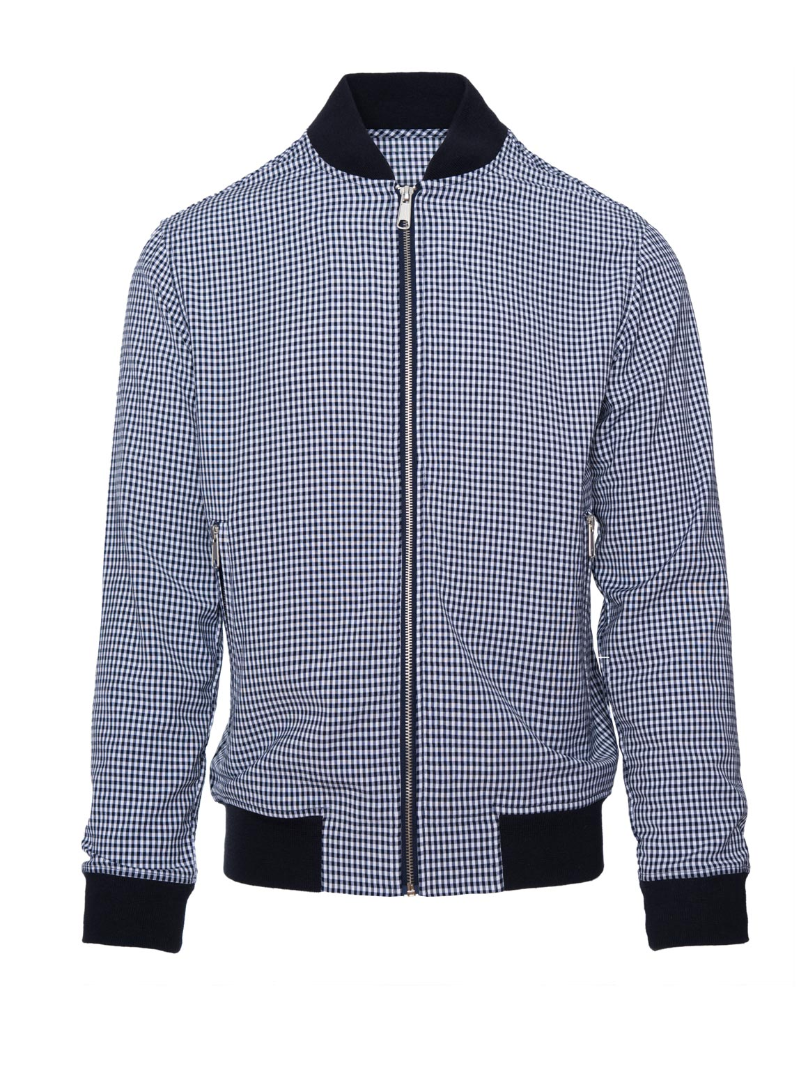 paisley & gray navy gingham slim fit crew neck collar bomber jacket 2180Z navy ribbed hem solid silver zipper slant pockets fitted waist elasticated cuffs front zip closure