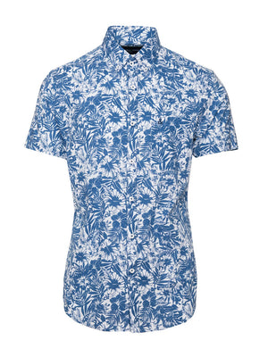 paisley & gray blue & white floral slim fit short sleeve dress shirt butt-down collar 2231W