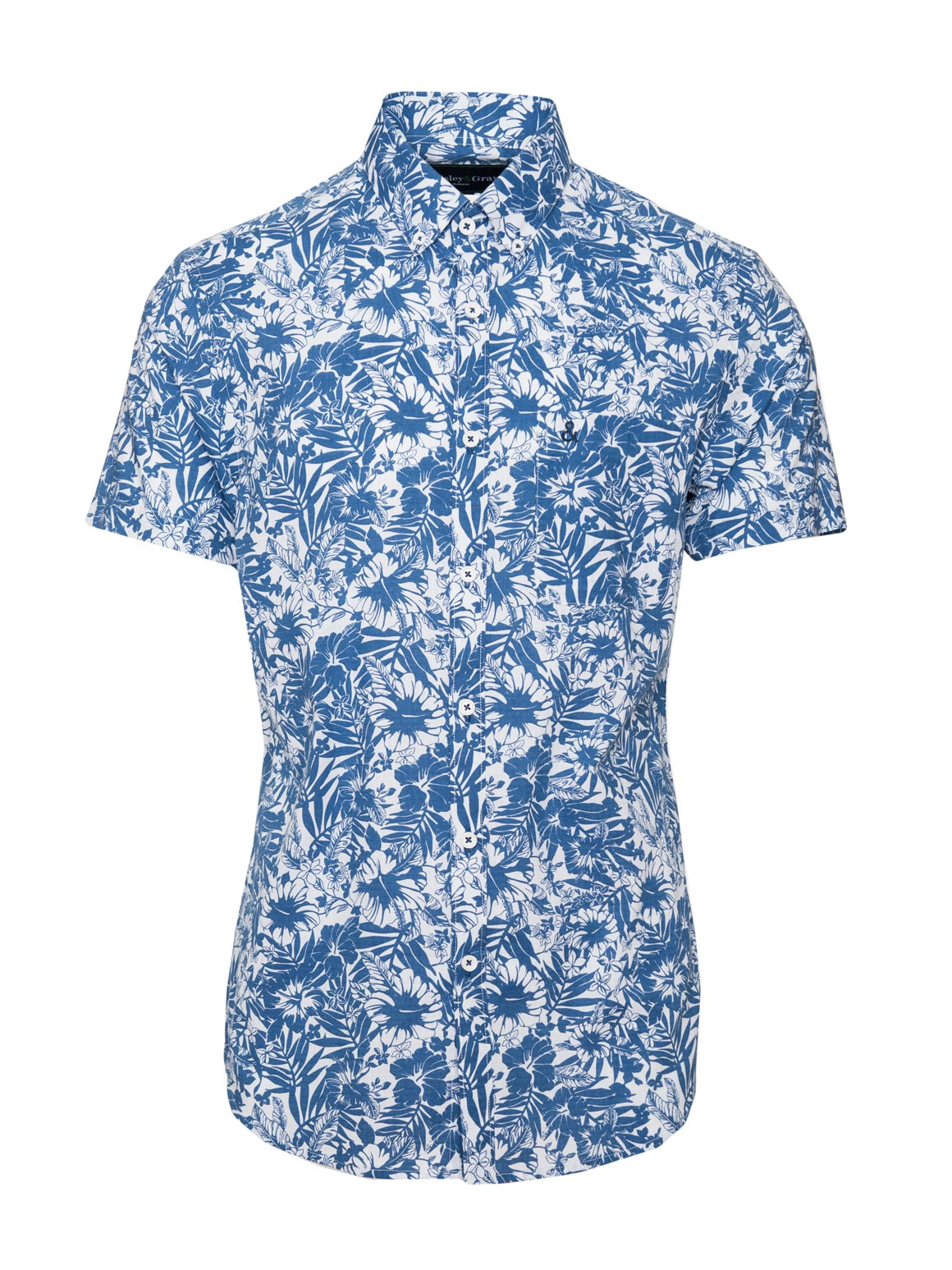 paisley & gray blue & white floral slim fit button-down short sleeve dress shirt 2231W
