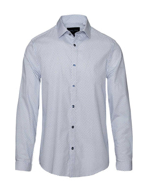 Long Sleeve Shirt - White & Blue Diamonds