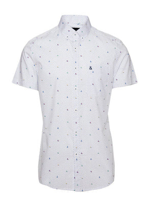 paisley & gray polkadot sail boat slim fit short sleeve dress shirt button-down collar 2257W