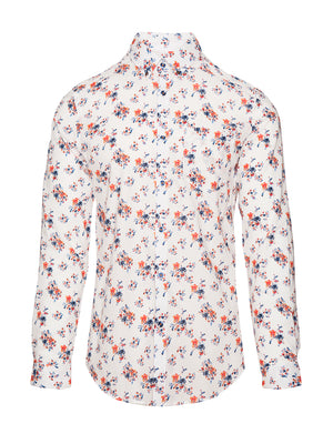 paisley & gray white, orange & blue floral slim fit long sleeve button-down collar dress shirt 2262W