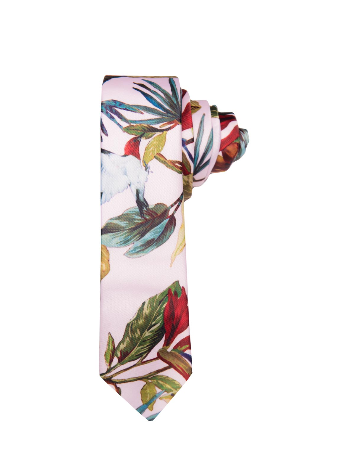 paisley & gray light pink with birds slim tie is a menswear staple for easy styling 2272t