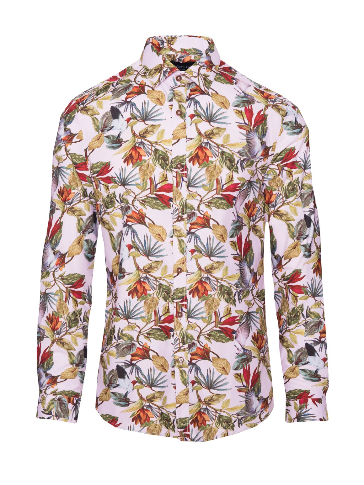 paisley & gray light pink with birds slim fit button-down long sleeve spread collar shirt 2272W