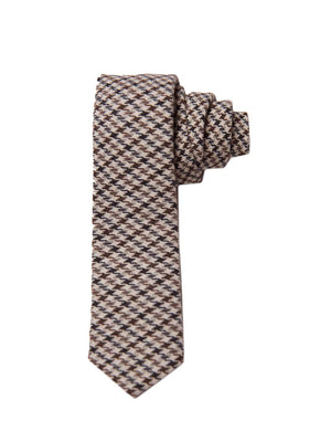 Stanley Tie - Black & Beige Small Check