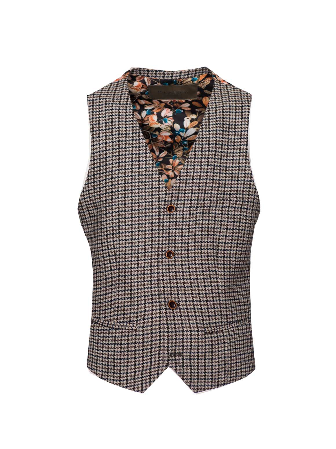 Eaton Vest - Slim - Black & Beige Small Check