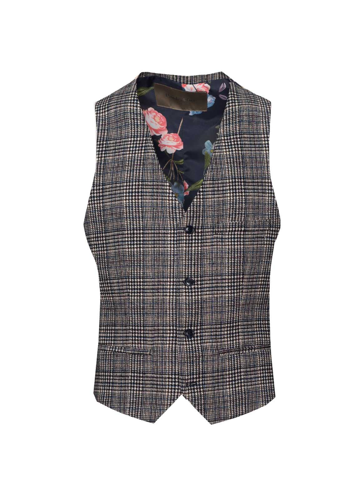 Eaton Vest - Slim - White & Blue Check