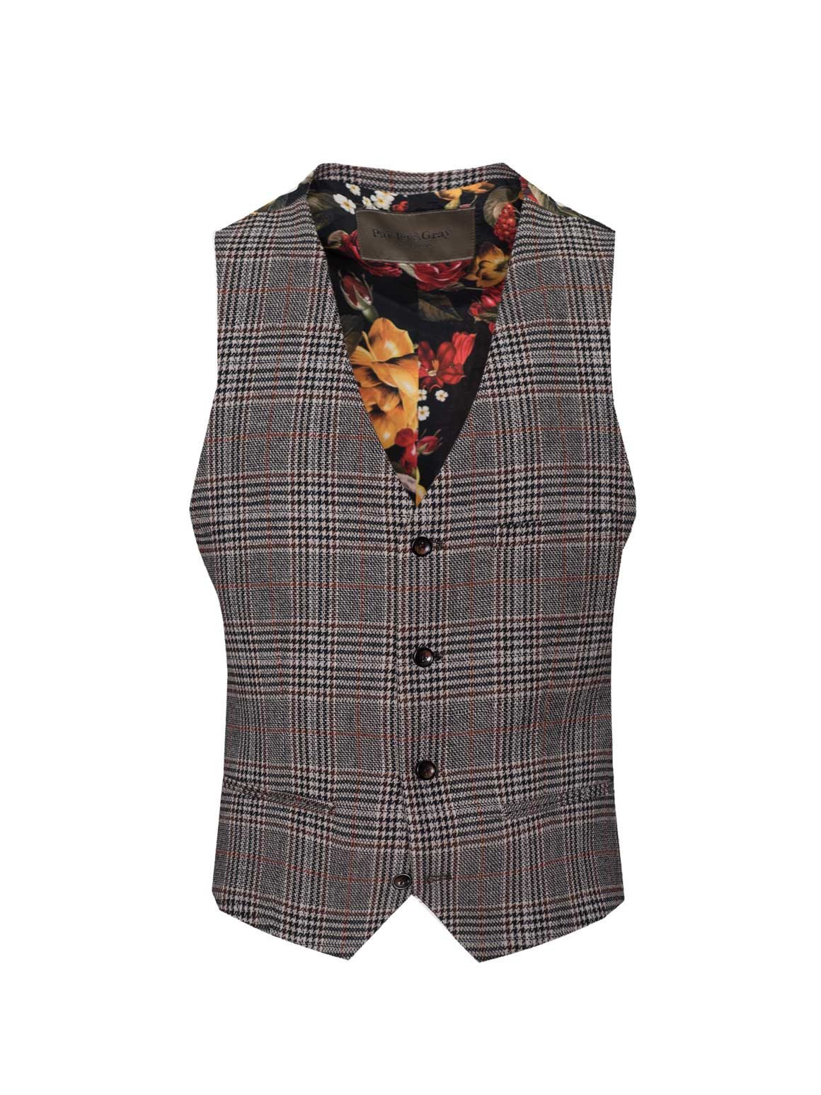 Eaton Vest - Slim - Black Coffee Plaid
