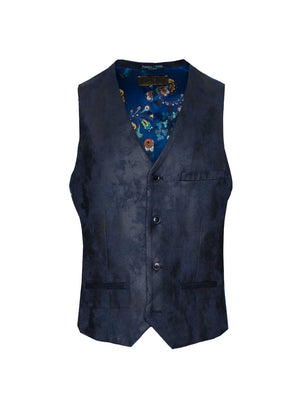 Eaton Vest - Slim - Navy Vegan Leather