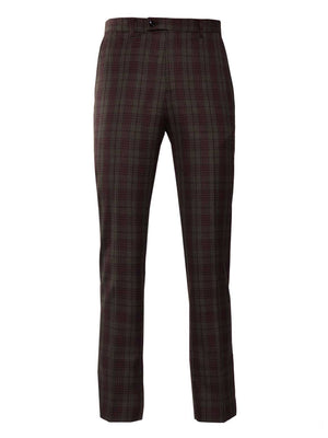 Downing Pants - Slim - Olive & Red Check
