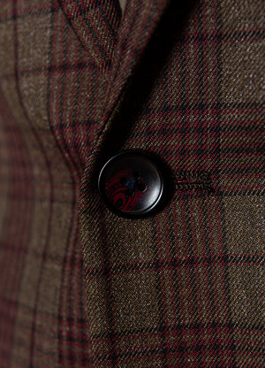 Dover Notch Jacket - Slim - Olive & Red Check