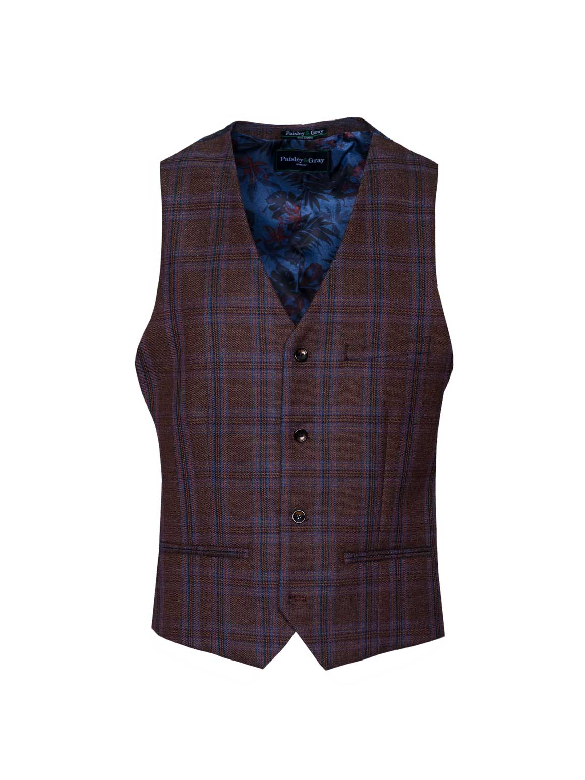 Eaton Vest - Brown & Red Check