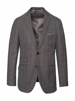 Dover Notch Jacket - Tan & Blue Check