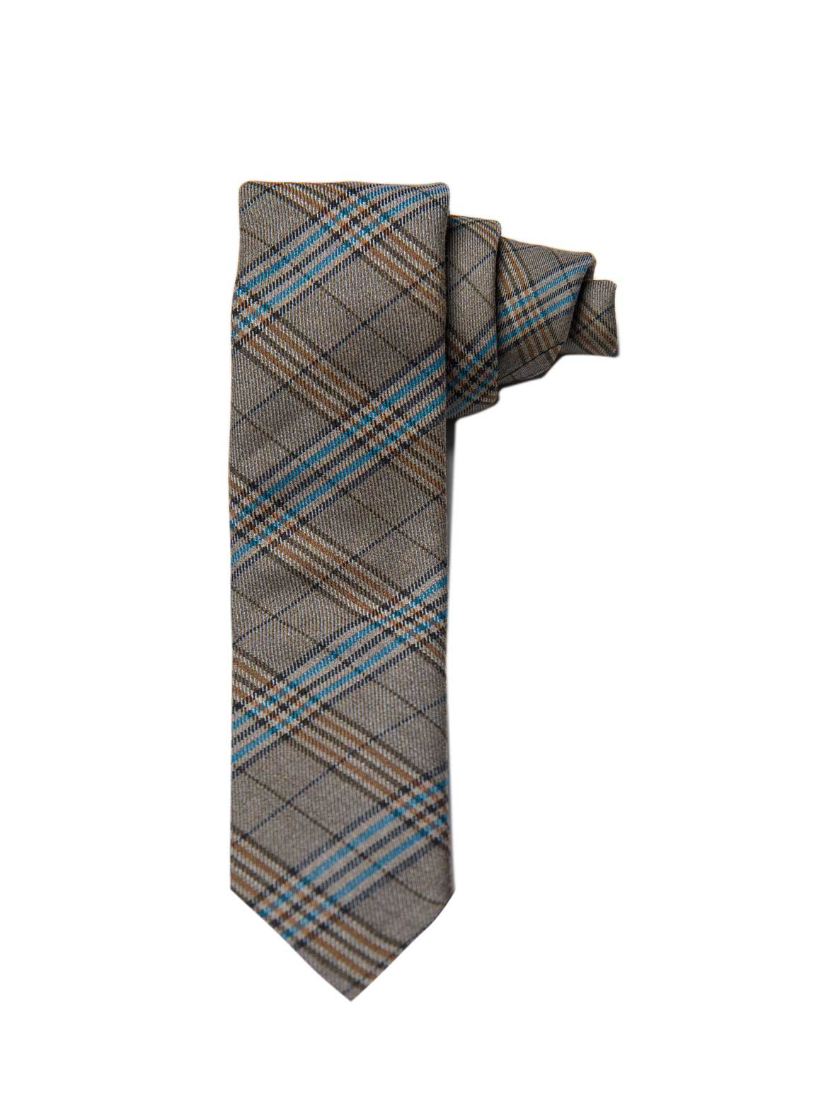 Stanley Tie - Tan & Blue Check