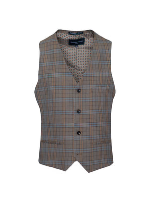 Eaton Vest - Slim - Tan & Blue Check