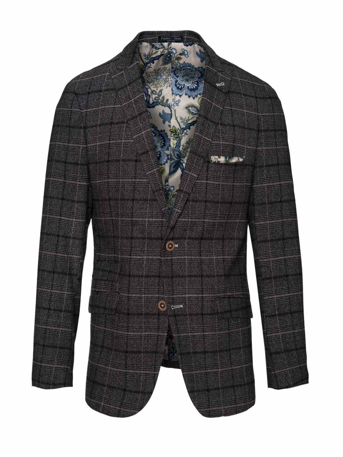 Ashton Peak Jacket - Slim - Charcoal Running Plaid