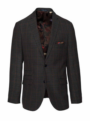 Dover Notch Jacket - Slim - Olive & Blue Houndstooth