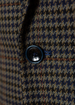 Dover Notch Jacket - Olive & Blue Houndstooth