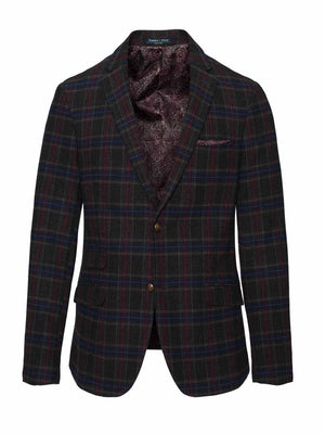 Kingsland Skinny Fit Notch Jacket - Charcoal & Berry Tartan