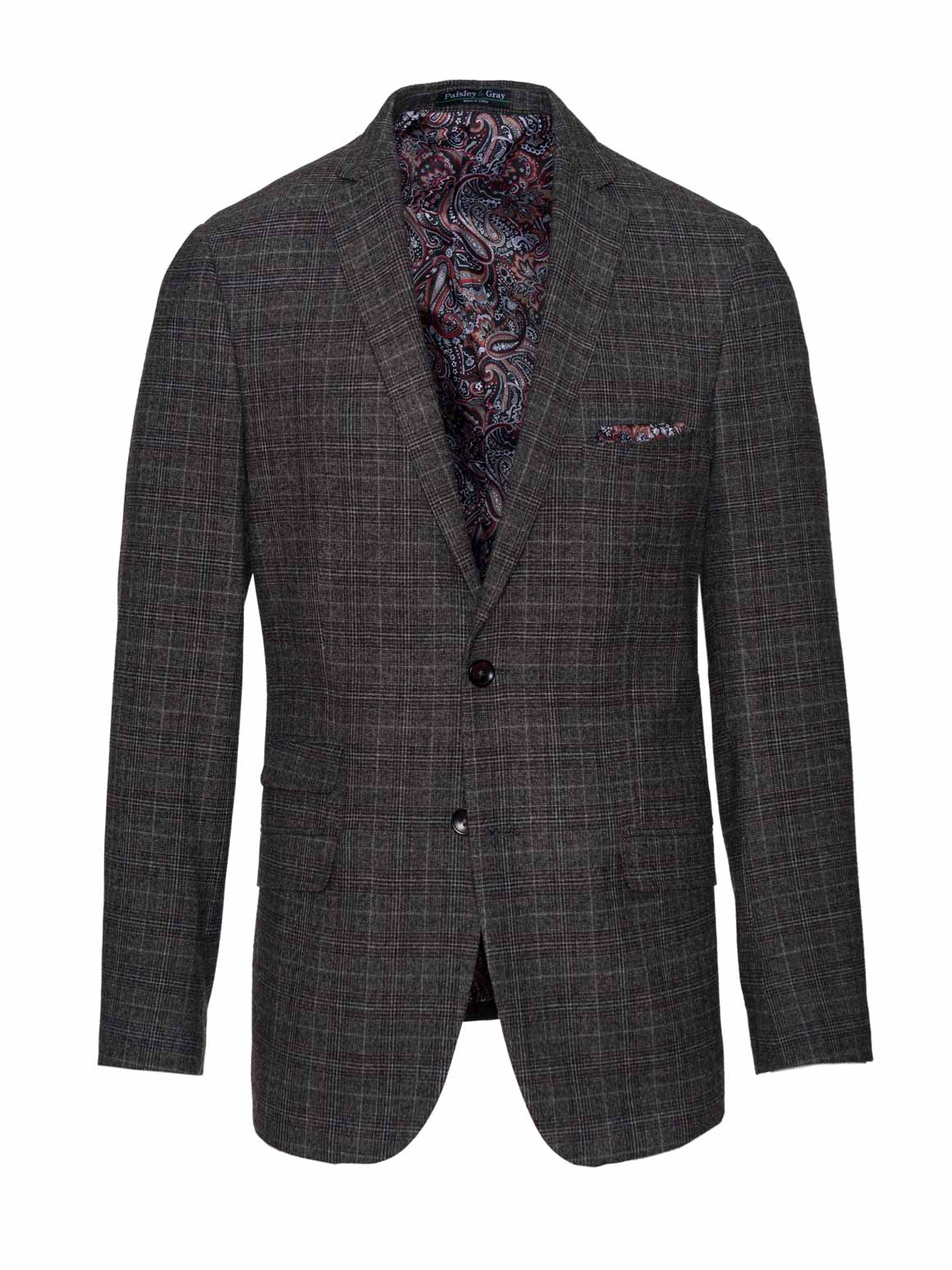 Dover Notch Jacket - Slim - Charcoal, Berry & Cream Plaid