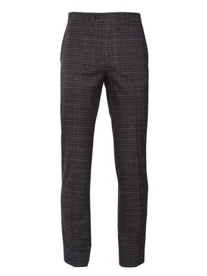 Downing Pants - Slim - Charcoal, Berry & Cream Plaid