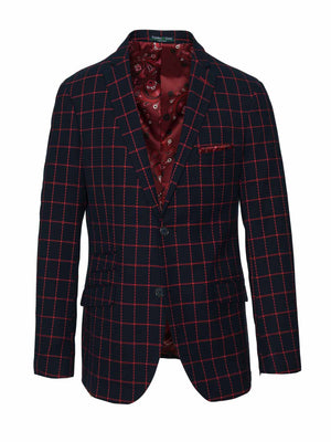 Dover Notch Jacket - Slim - Navy & Red Windowpane