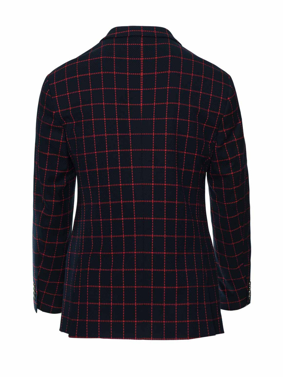 Dover Notch Jacket - Navy & Red Windowpane