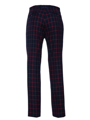 Downing Pant - Navy & Red Windowpane