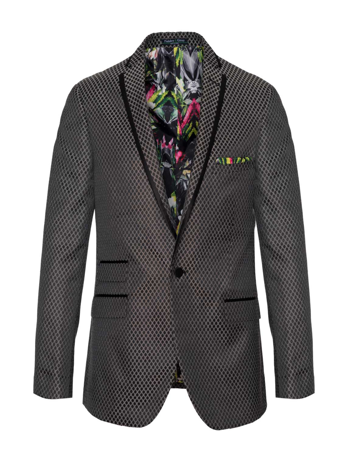 Osborne Notch Tuxedo Jacket - Slim - Grey Dot