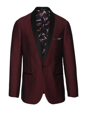 Regent Shawl Tuxedo Jacket - Red & Black Houndstooth