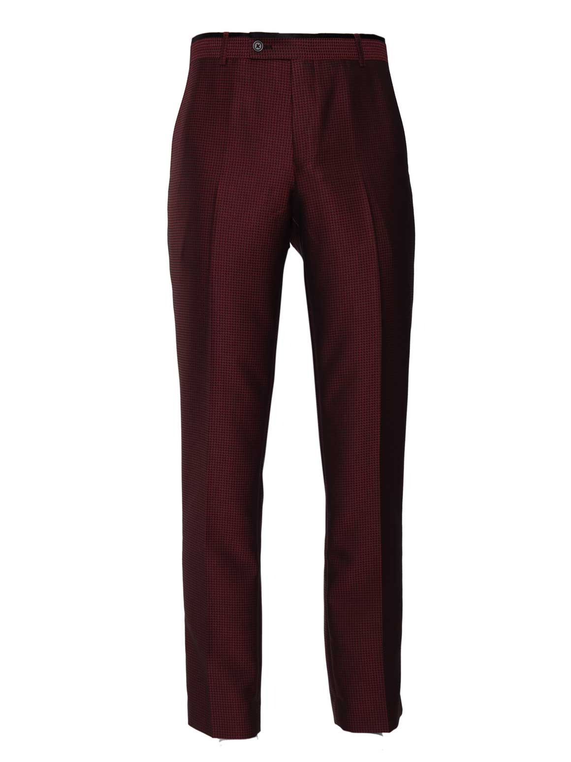 Sloane Tuxedo Pants - Slim - Red & Black Houndstooth