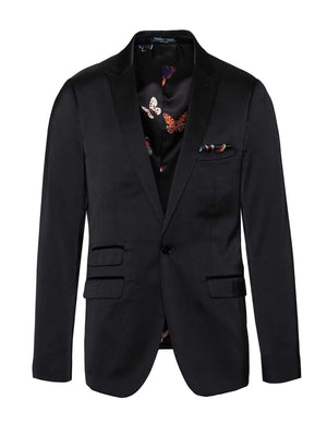 Baxter Skinny Fit Peak Tuxedo Jacket - Black Satin
