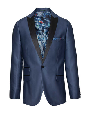 Grosvenor Peak Tuxedo Jacket - Slim - Blue Silky