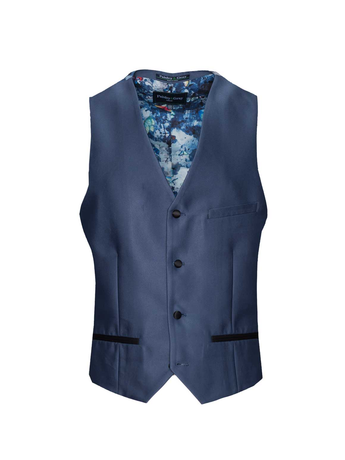 Chatsworth Tuxedo Vest - Slim - Blue Silky