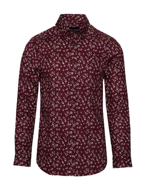 Long Sleeve Shirt - Burgundy Ditsy
