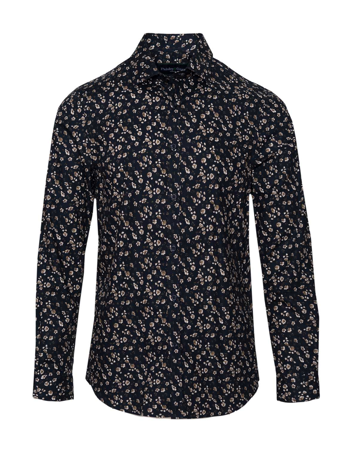Long Sleeve Shirt - Navy Ditsy