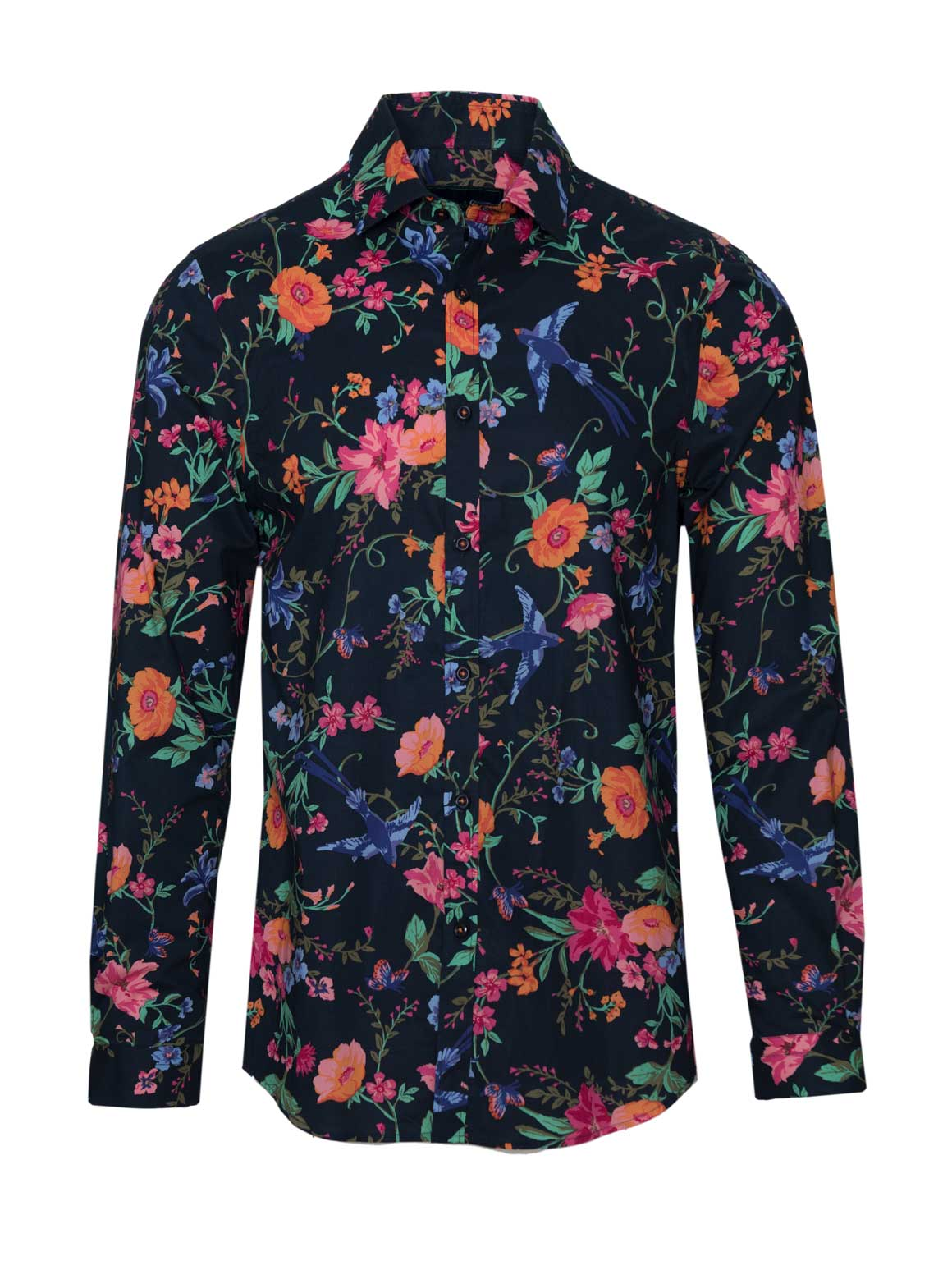 Long Sleeve Shirt - Navy & Orange Floral