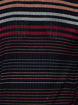 Printed Rib Striped Turtleneck - Rust Multi