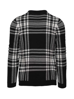 Crew Neck Sweater - Black & Cream Plaid