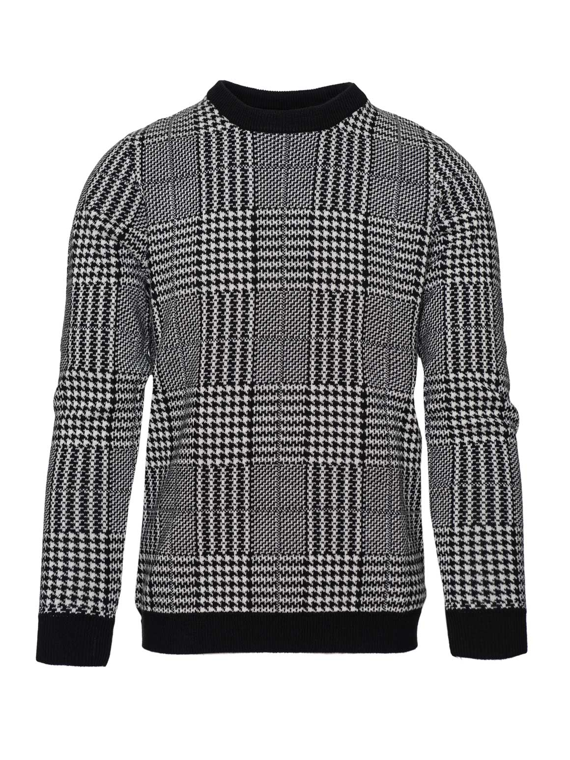Crew Neck Sweater - Black & White Houndstooth Plaid